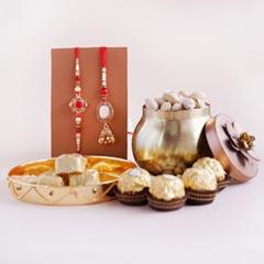 Bhaiya Bhabhi Rakhi with Chocolates N Pistachios