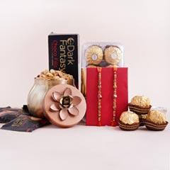 Two Stone Rakhis with Chocolates N Peanuts