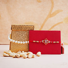 Silver AD Rakhi with Almonds Combo