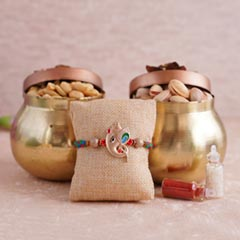Ganesha Rakhi with Dryfruits in Containers