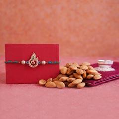 Golden Krishna Rakhi with Almonds
