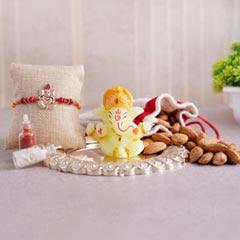 Ganesha Rakhi with Almonds N Ganesha Idol