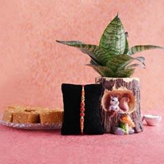 Rudraksha Rakhi with Haldiram Sattu Sweets N Snake Plant