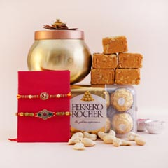 Two Fancy Rakhis with Sweets Chocolates N Dryfruits