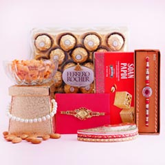 Two Fancy Rakhis with Dryfruits Chocolates N Sweets