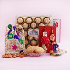 Bhaiya Bhabhi Rakhi with Almonds N Ferrero Rocher