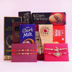 Delightful Gift Hamper with Four Rakhis