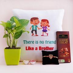 Money Plant with Fancy Rakhi Cushion N Chocolate
