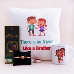Set of Rakshabandhan Cushion N Mug with Golden Rakhi N Chocolate