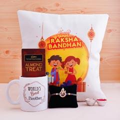 Rakshabandhan Cushion N Mug with Auspicious  Rakhi N Chocolate
