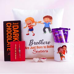 Rakshabandhan Cushion N Mug with Chocolates N Two Rakhis