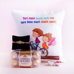 Silver Rakhi with Rakshabandhan Cushion N Ferrero Rocher