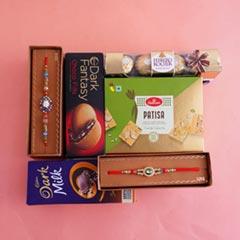 Chocolaty Hamper with Two Designer Rakhis