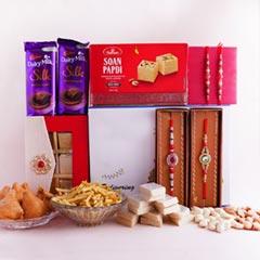Four Designer Rakhis N Signature Box Hamper