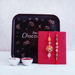 Traditional Couple Rakhi Set with Amul Chocolates