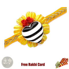 Heart Rakhi with a Free Silver Coin