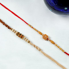 Aum Brown Diamond Rakhi Set