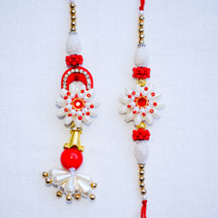 White Red Bhaiya Bhabhi Rakhi Set