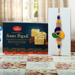 Fancy Rakhi with Soan Papdi