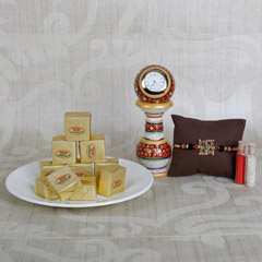 Swastik Rakhi And Sweets Combo
