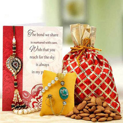 Bhaiya Bhabhi Rakhi with Almond Potli