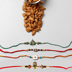 Set Of 4 Spiritual Rakhis And Almonds