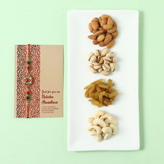 Mixed Dry Fruits And Designer Rakhi Combo