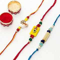 Three modern designer rakhi