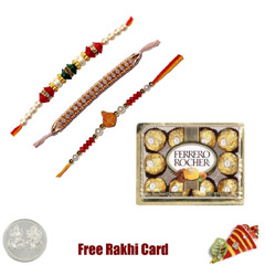 3 Rakhi with 12 Piece Ferrero Rocher