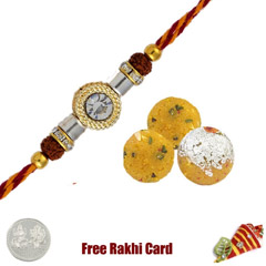 One Rakhi with 225 grams Boondi Ladoo Free Silver Coin