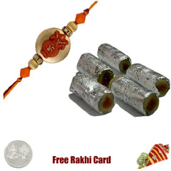 1 Rakhi with Special Kaju Rolls and a Free Silver Coin