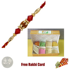 1 Rakhi with Assorted Sweets and a Free Silver Coin