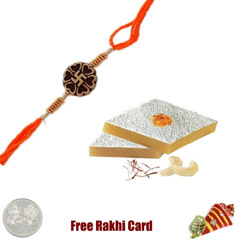 One Rakhi with 450 grams Kaju Katli Free Silver Coin