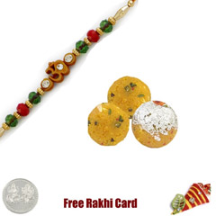 One Rakhi with 450 grams Boondi Ladoo Free Silver Coin