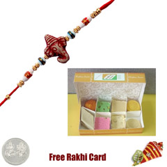 One Rakhi with 450 grams Assorted Sweets Free Silver Coin