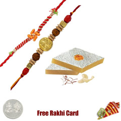 2 Rakhis with 225 grams Kaju Katli Free Silver Coin