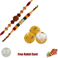 2 Rakhis with 225 grams Boondi Ladoo Free Silver Coin