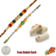 2 Rakhis with 225 grams Assorted Kaju Rolls Free Silver Coin