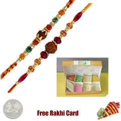 2 Rakhis with 225 grams Assorted Sweets Free Silver Coin