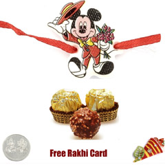 Mickey Rakhi with 3 Piece Ferrero Rocher