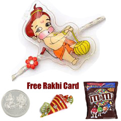 Kids Rakhi with M&Ms Milk Chocolate Bag