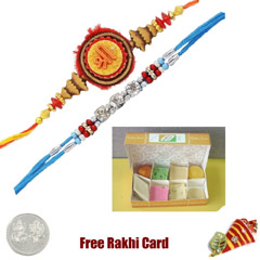 2 Rakhis with 450 grams Assorted Sweets Free Silver Coin