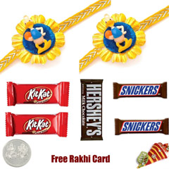 5 Bar Kids 2 Rakhi Pack – 2 Kitkat, 2 Snickers, Hershey Milk,