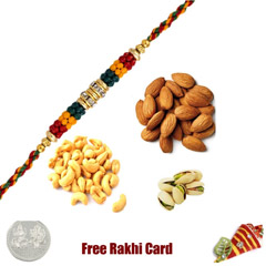 Rakhi with 200 Grams Mixed Dryfruits and Free Silver Coin