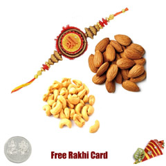 Rakhi with 200 Grams Almonds and Cashews and Free Silver Coin