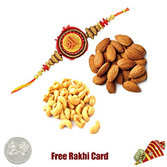 Rakhi with 225 Grams Almonds and Cashews and Free Silver Coin