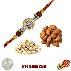 Rakhi with 225 Grams Almonds and Pistachios and Free Silver Coin