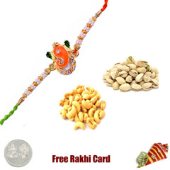 Rakhi with 225 Grams Pistachios and Cashews and Free Silver Coin