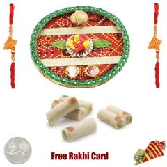 Rakhi Thali with 250 grams Assorted Rolls and Free Silver Coin