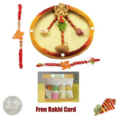 Rakhi Thali with 250 grams Assorted Sweets and Free Silver Coin